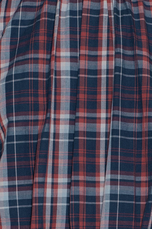 Check Smock Blouse Navy Red Check