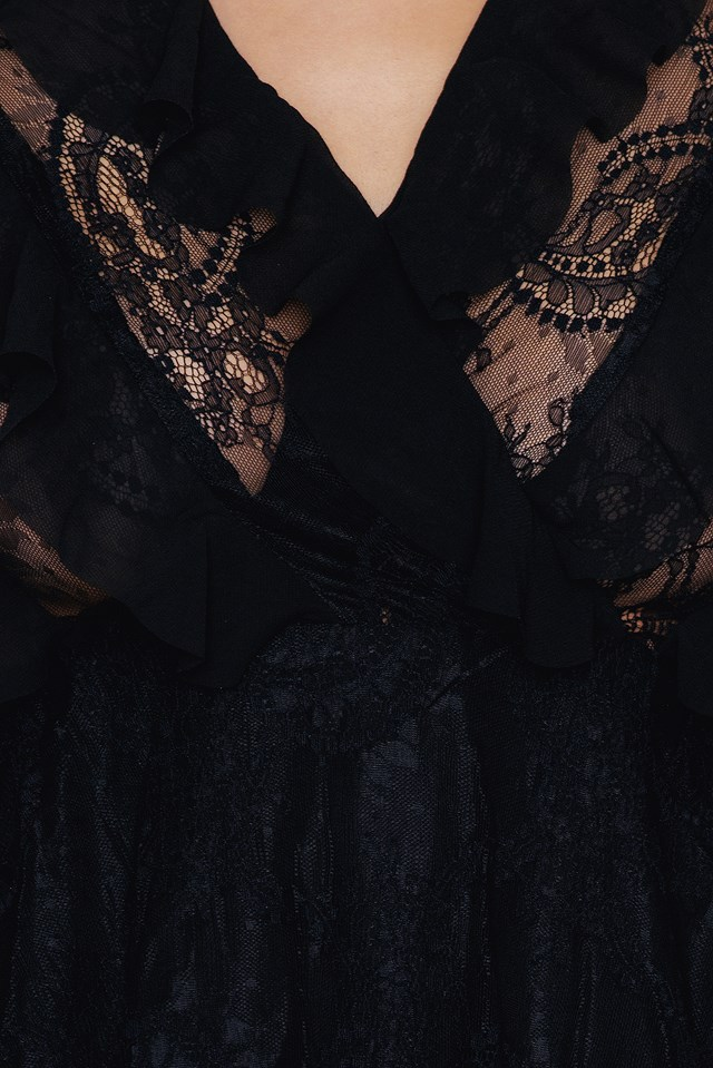 Chiffon Tiered Dress Black