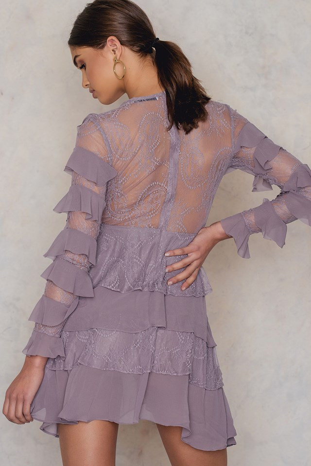 Chiffon Tiered Dress Dusty Lilac
