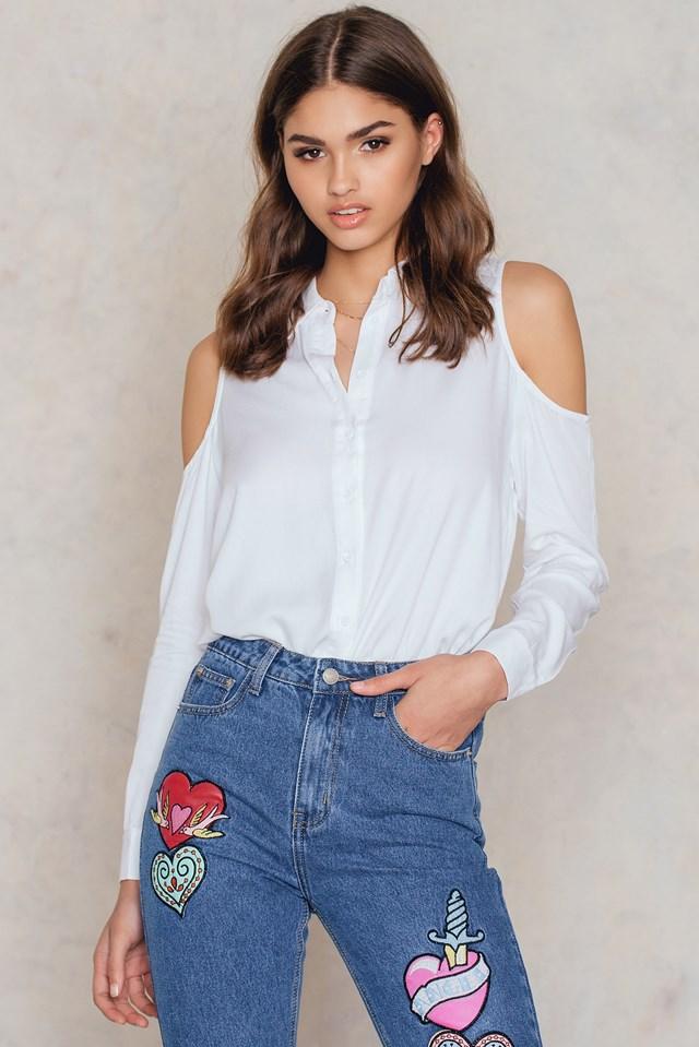 Cold Shoulder Shirt White