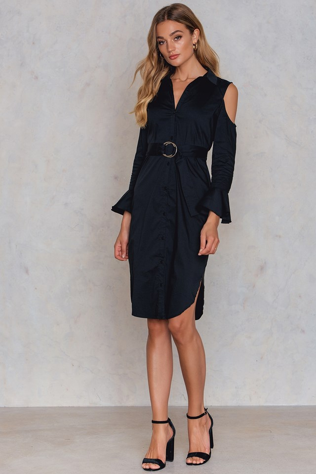 Cold Shoulder Waist Belt Dress Black