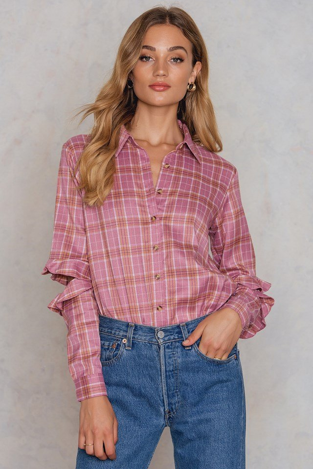 Distressed Sleeve Shirt Pink Check