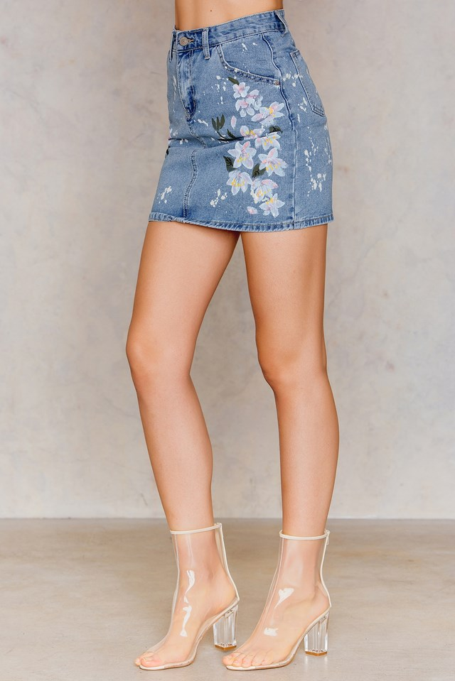 Floral Print Denim Skirt Light Blue Denim