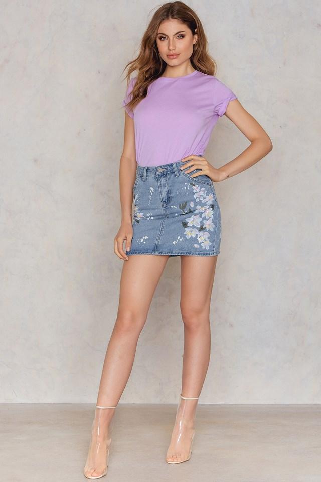 Spódnica jeansowa w kwiaty Light Blue Denim