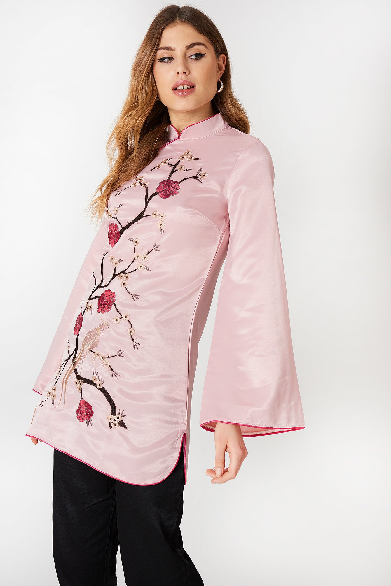 Embroidered Long Sleeve Dress NA-KD.COM