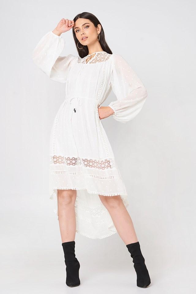 Embroidered Tie Waist Dress White