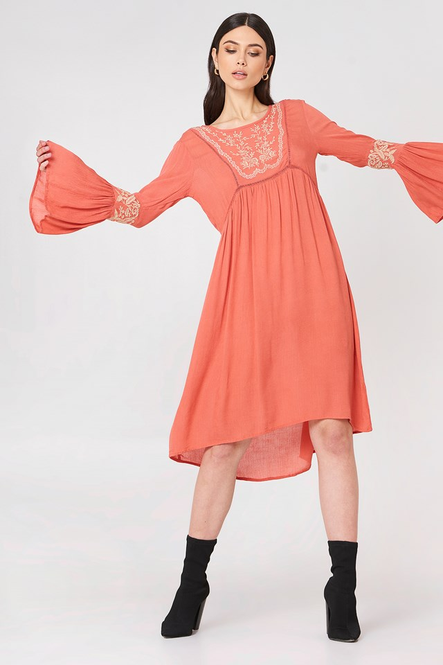 Embroidered Midi Dress Coral
