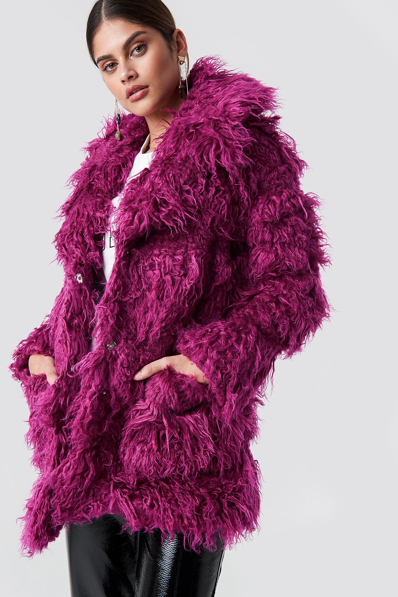 glamorous -  Faux Fur Jacket - Purple