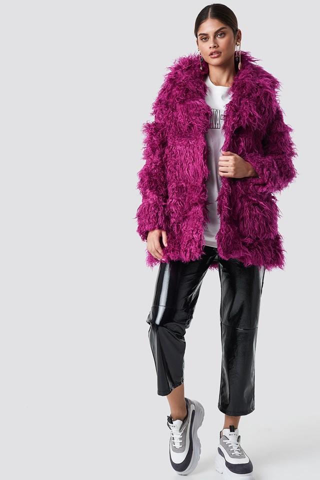 Faux Fur Jacket Purple Fushsia