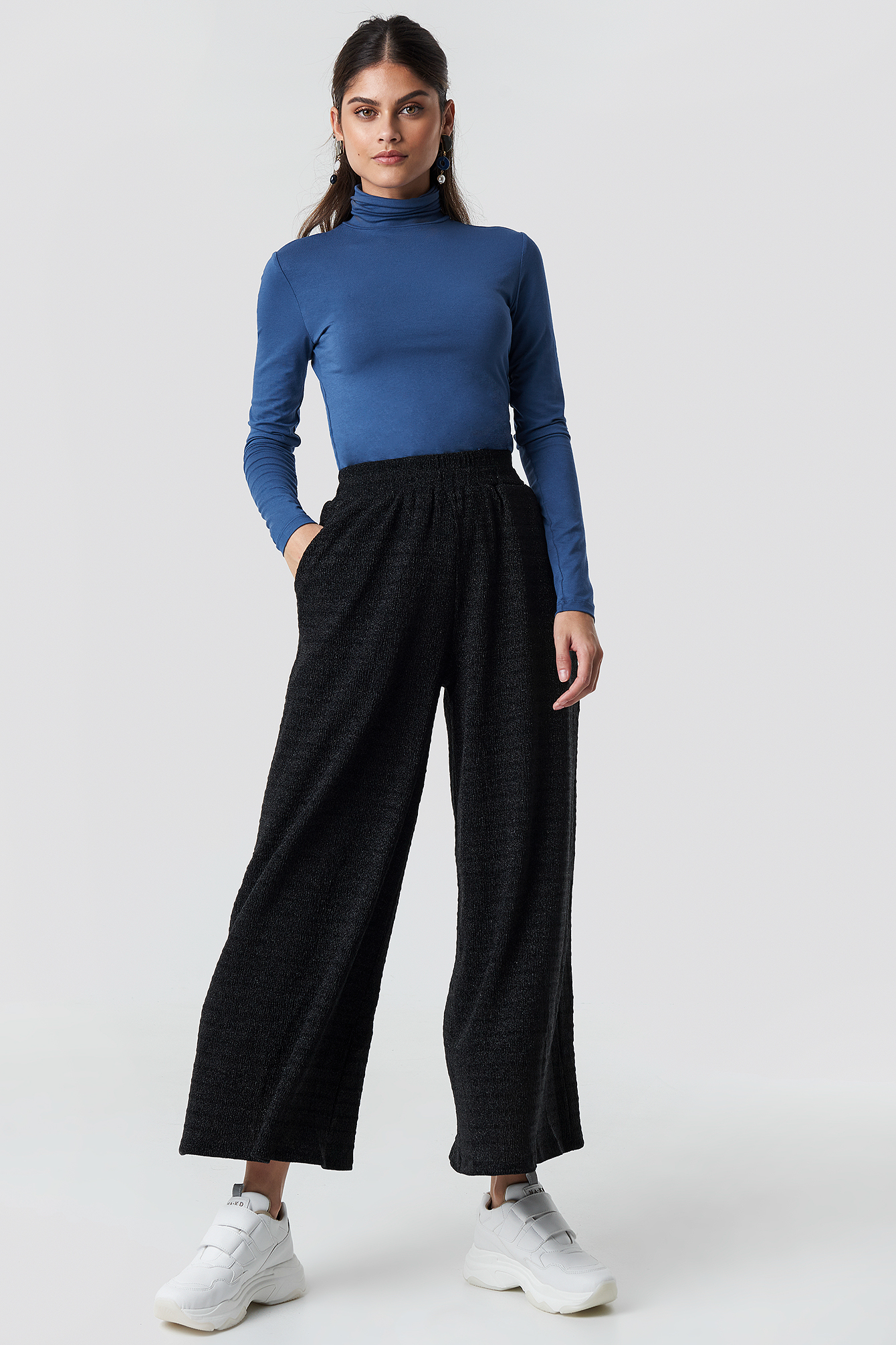 glamorous -  Flared Pants - Black,Silver