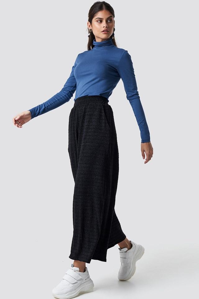 Flared Pants Black Textured