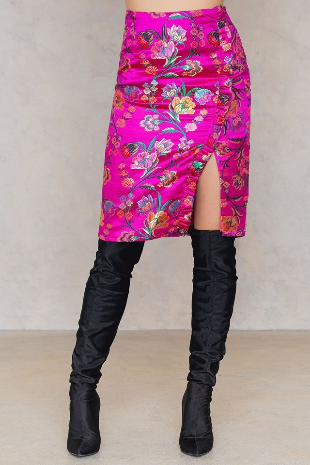 Floral Slit Skirt Hot Pink Oriental
