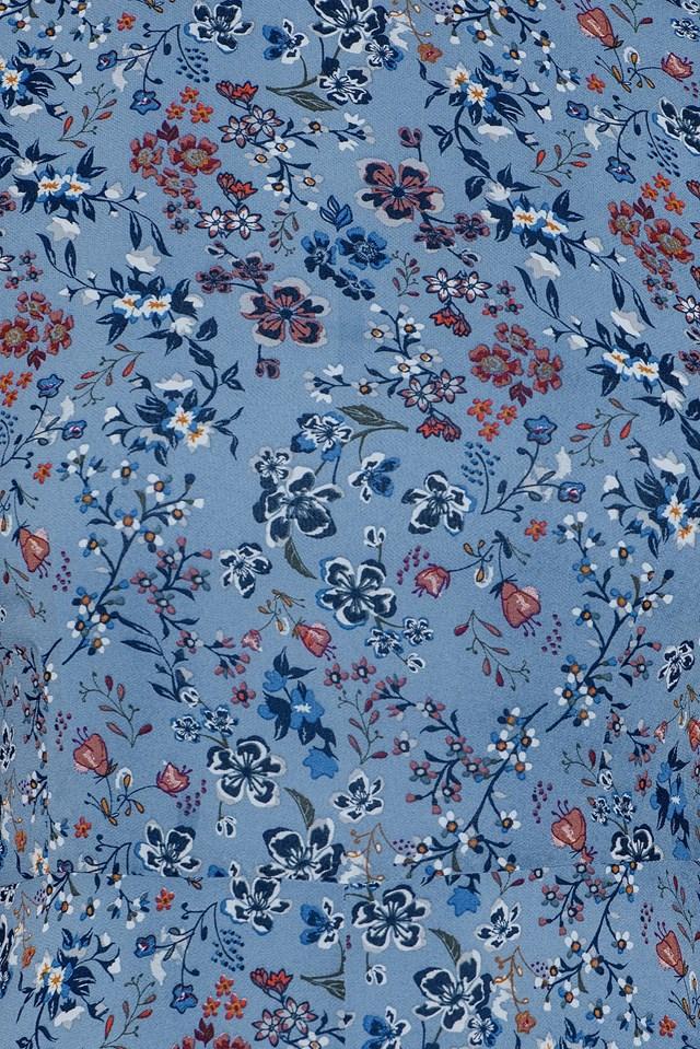 Floral T-Shirt Dress Dusty Blue Floral Print