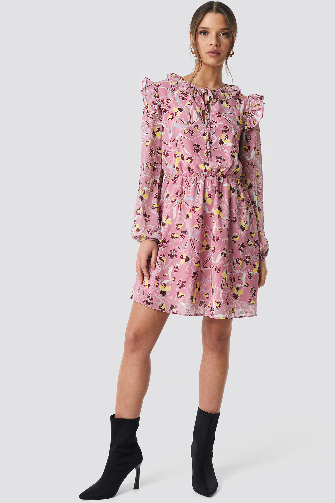 Flower Printed Mini Dress NA-KD.COM