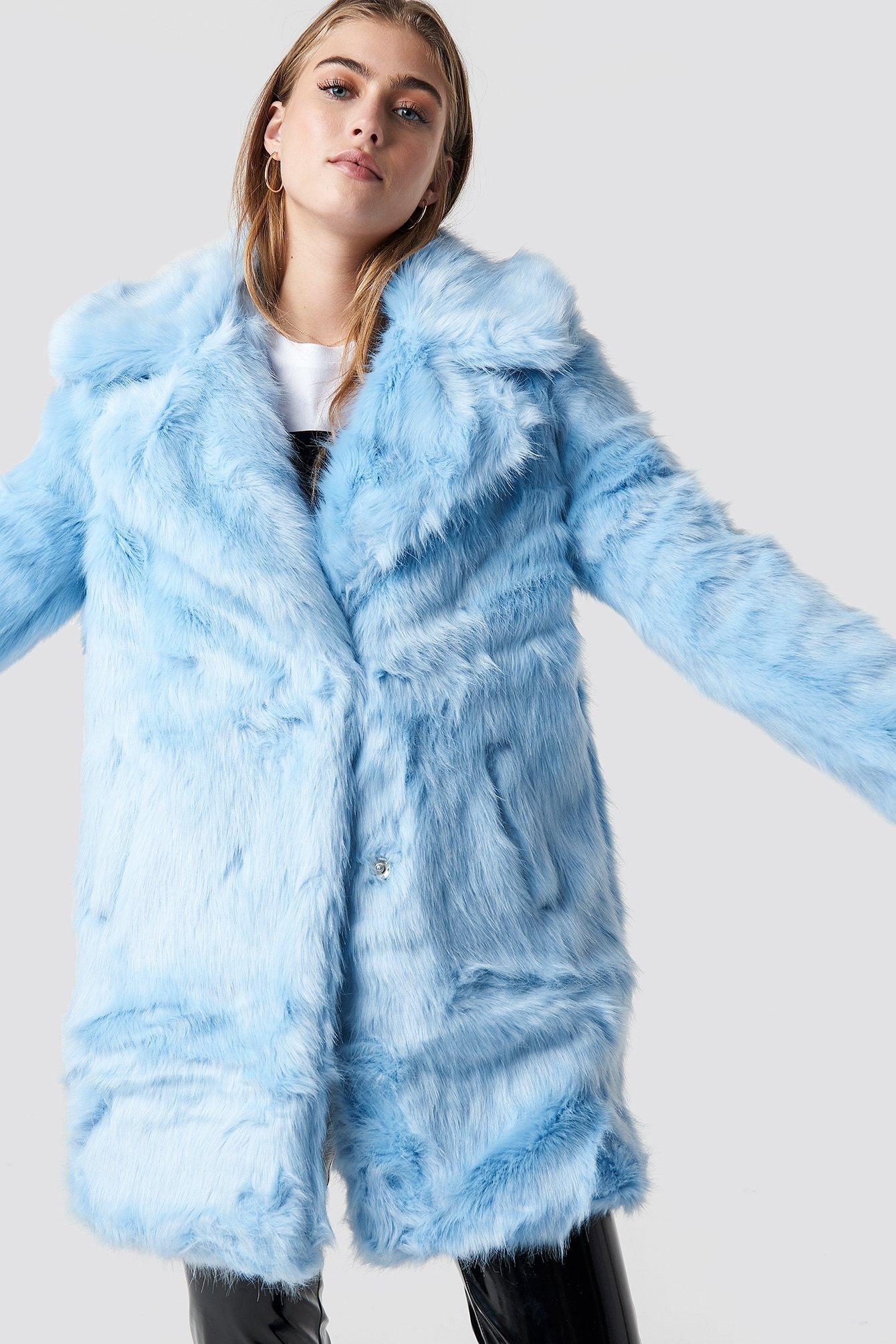 glamorous -  Fluffy Coat - Blue