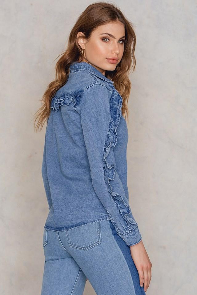 Frill Denim Shirt Mid Blue