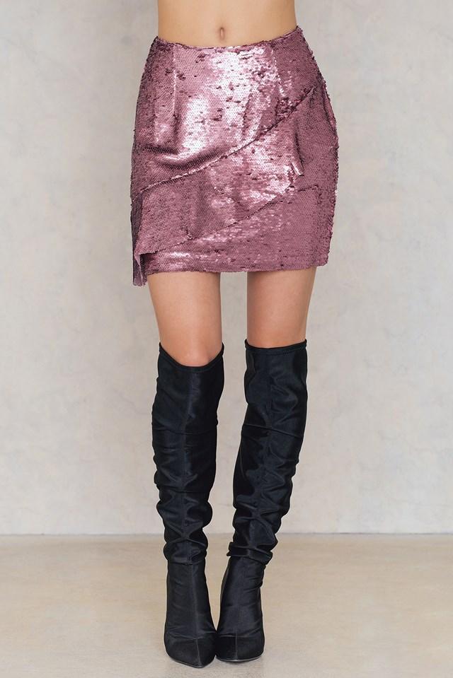 Spódnica z falbanką i cekinami Pink Sequin