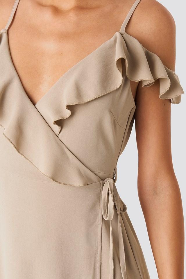 Frill Strap Maxi Dress Stone