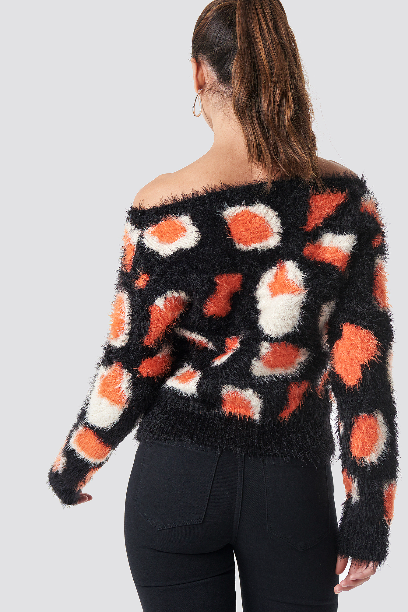 Black/Orange Fuzzy Off Shoulder Sweater
