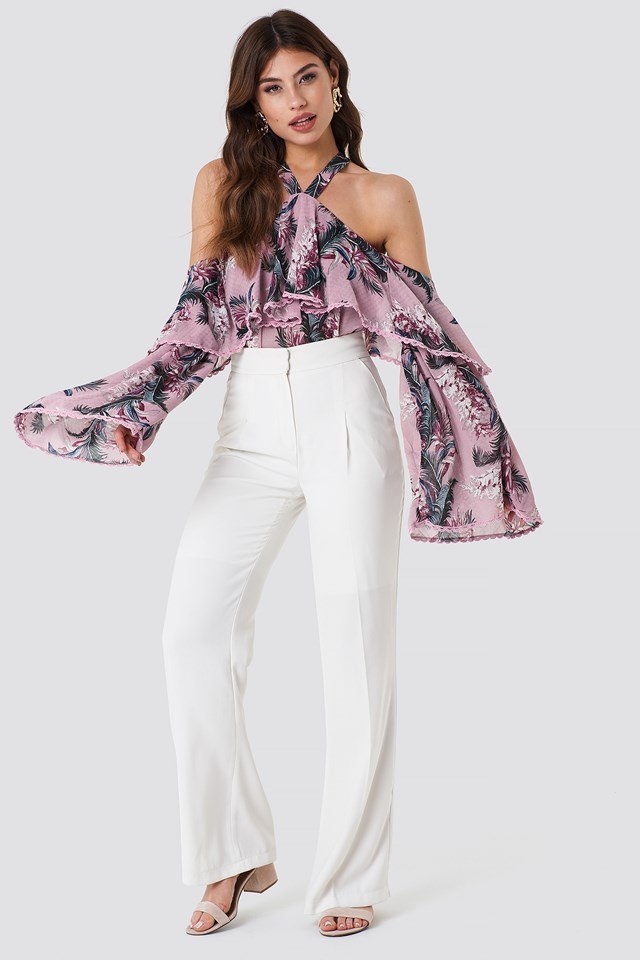 Halter Ruffle Print Top Pink Palm Floral