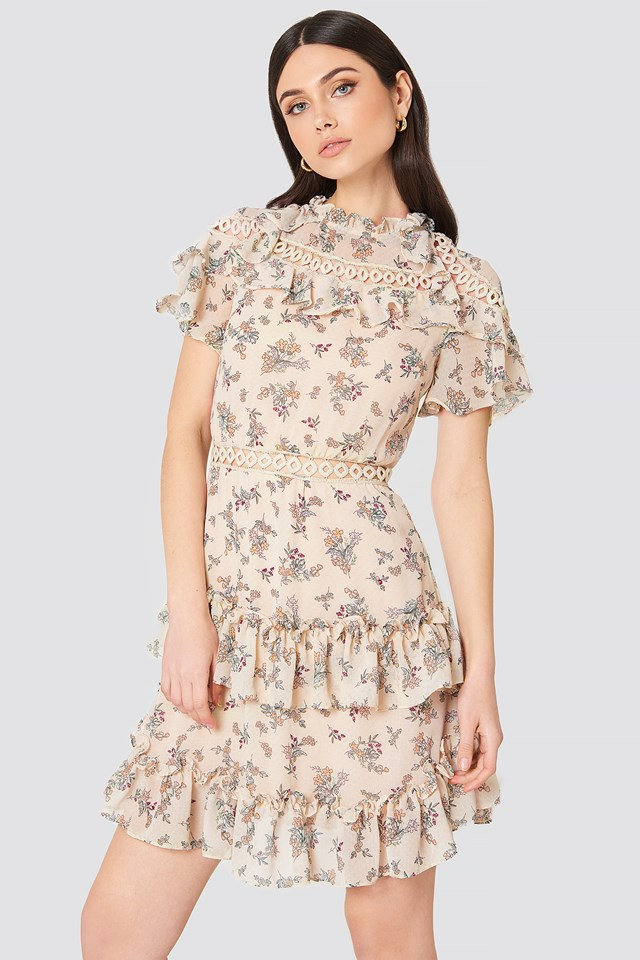 High Neck Floral Ruffle Dress Blush Floral Bunch