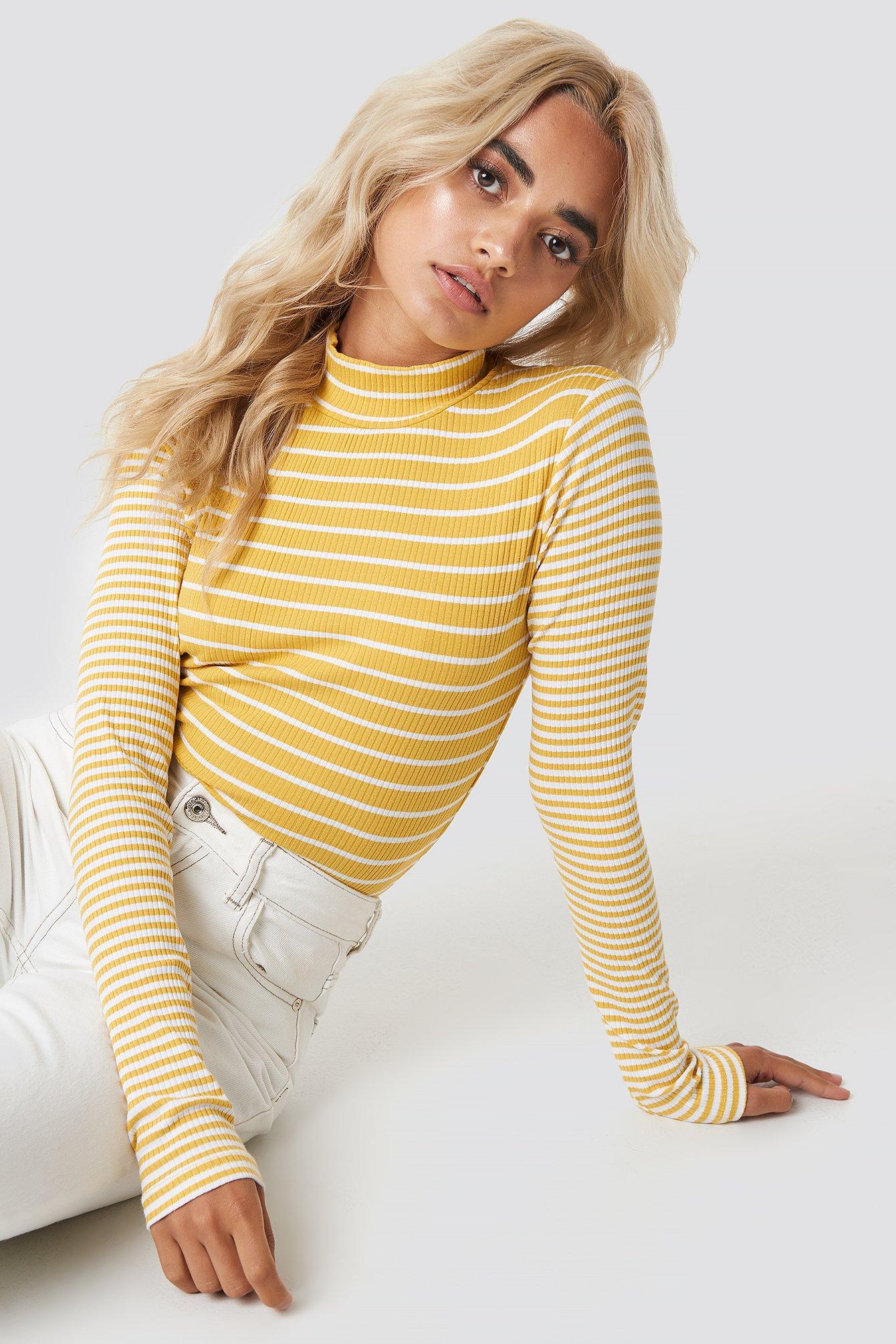 glamorous -  High Neck Top - Yellow