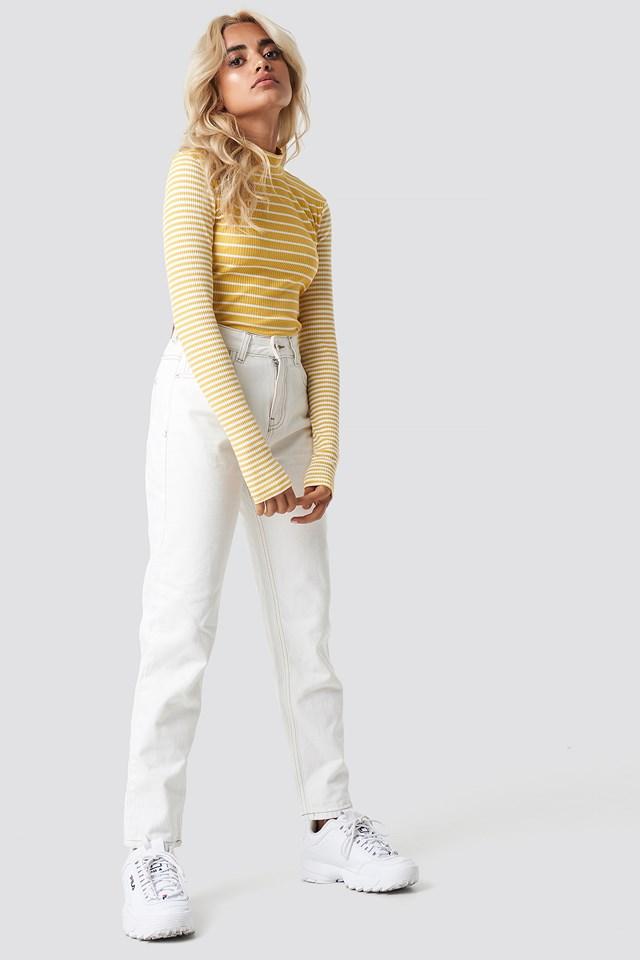 High Neck Top Yellow White Stripes