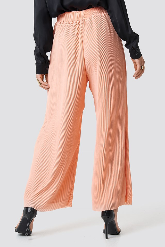 High Waist Wide Trousers Peach Plisse