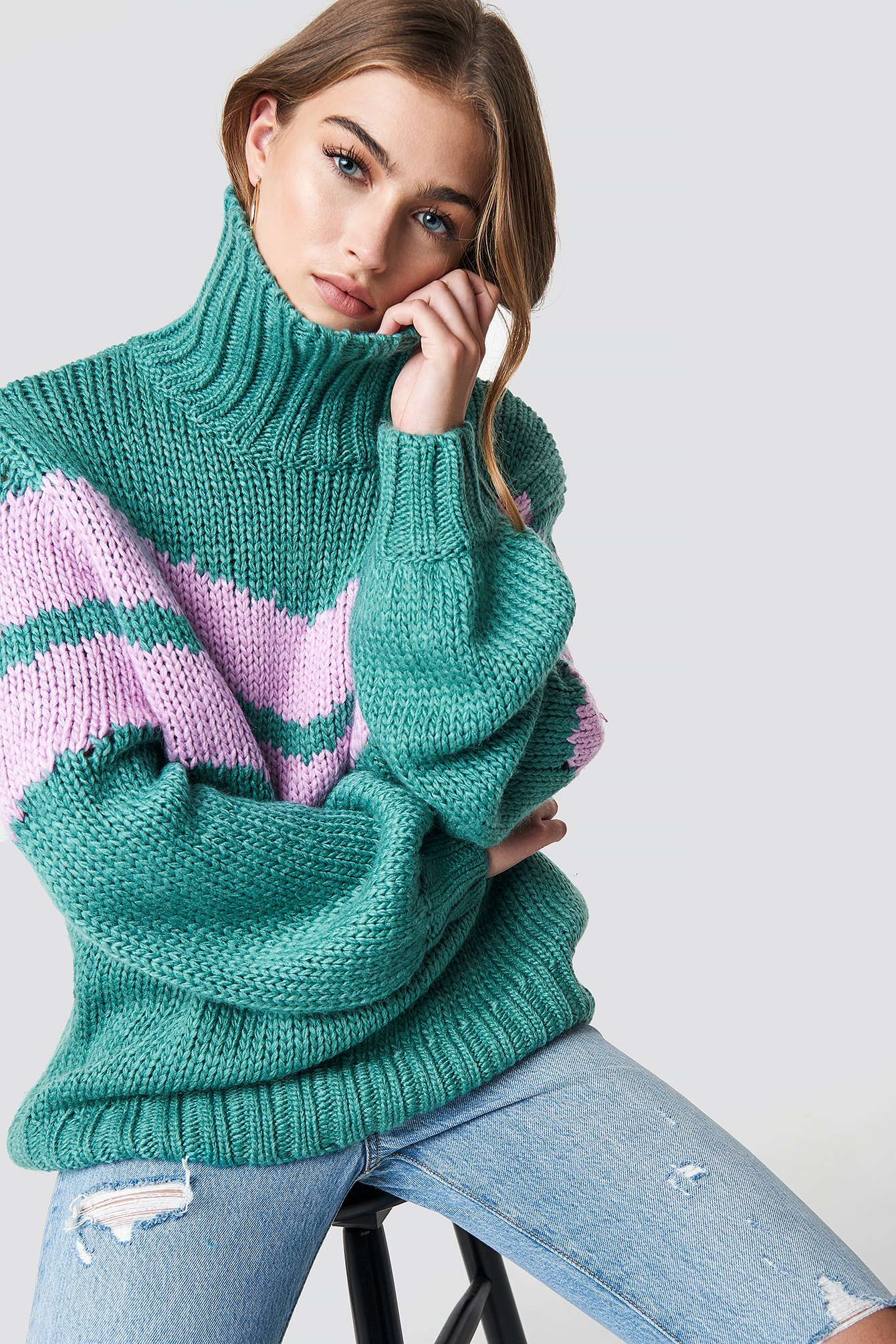 glamorous -  Knitted Polo Jumper - Green