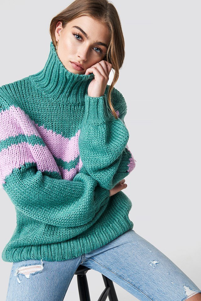 Knitted Polo Jumper Jade Orchid