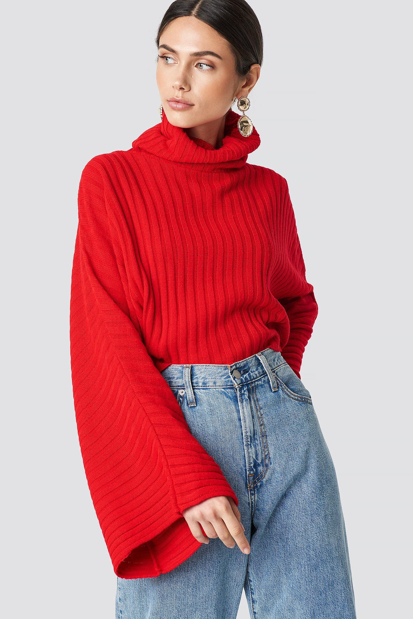 Knitted Wide Sleeve Sweater NA-KD.COM