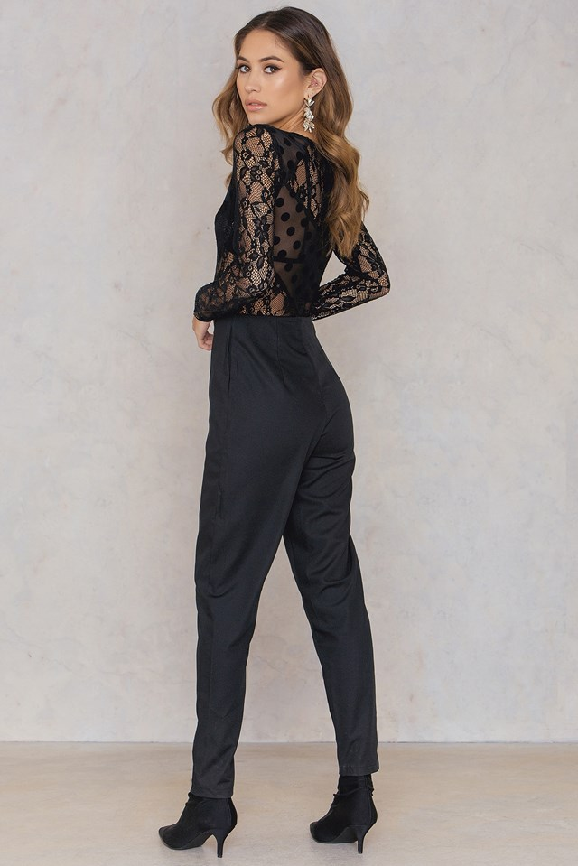 Lace Dot Jumpsuit Black