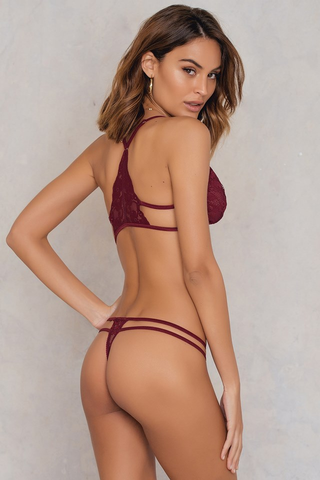 Lace Strap Side Thong Wine
