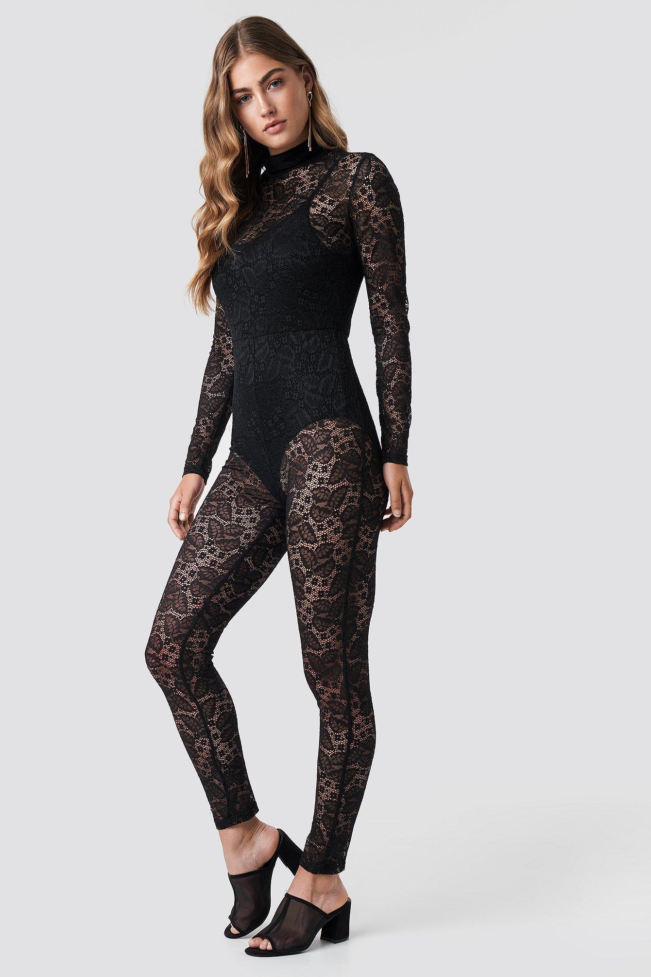 LACED BODYSUIT - BLACK