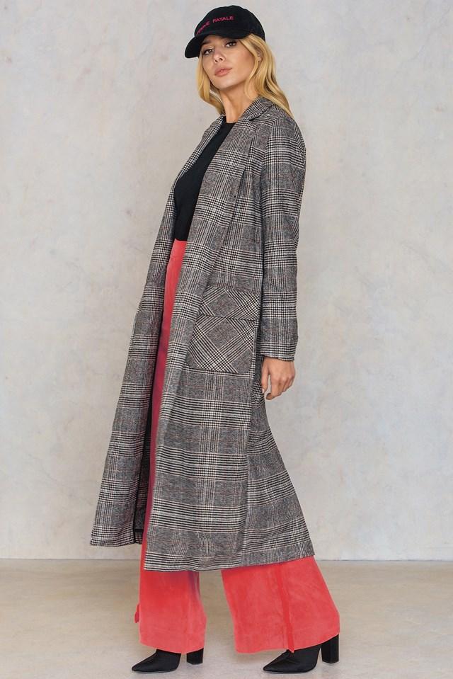 Long Front Pocket Coat Grey Check