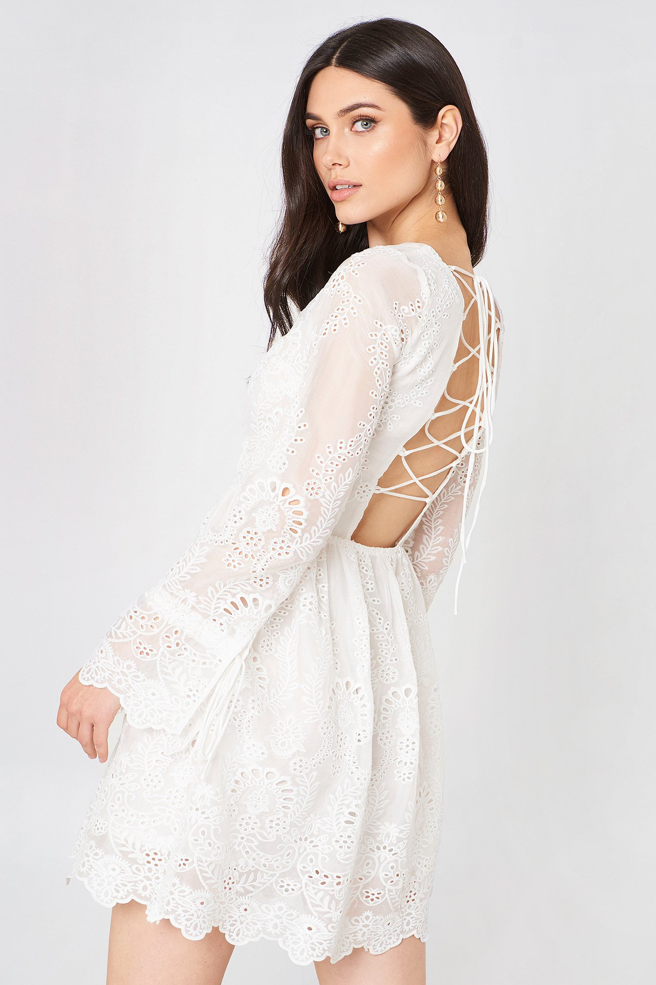 3e982c7250 White Lace Mini Dress with Sleeves – Fashion dresses