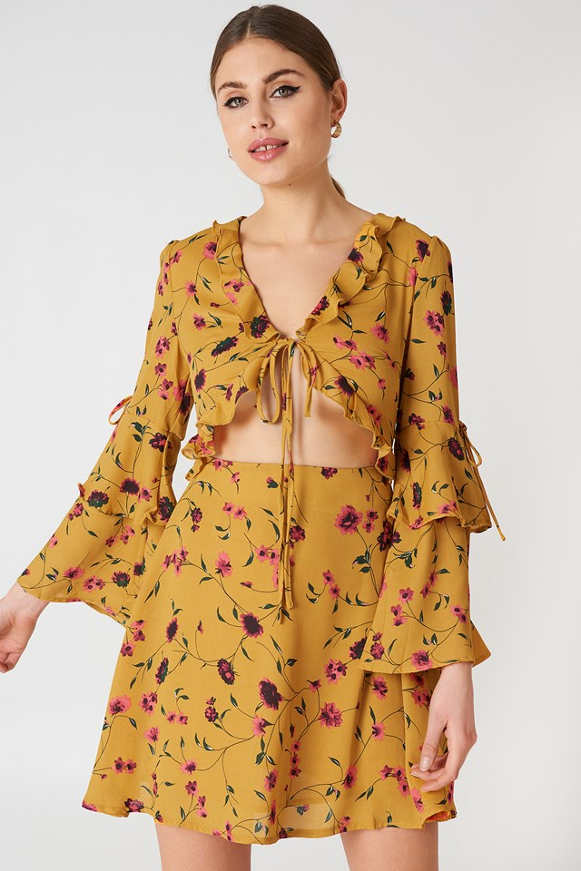Long Sleeve Mini Dress Mustard Floral