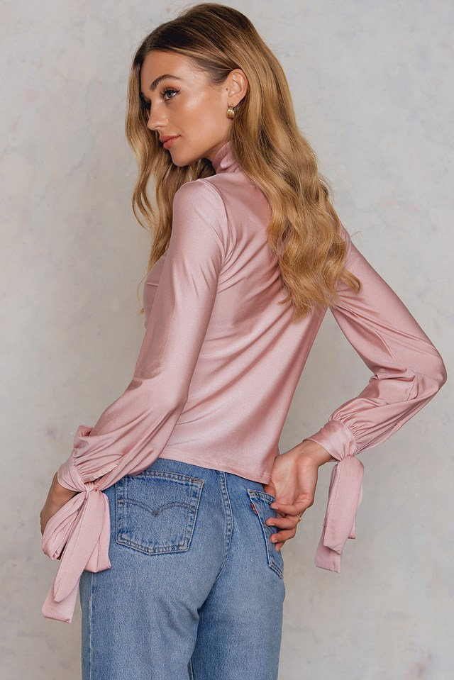 Long Sleeve Polo Top Pink