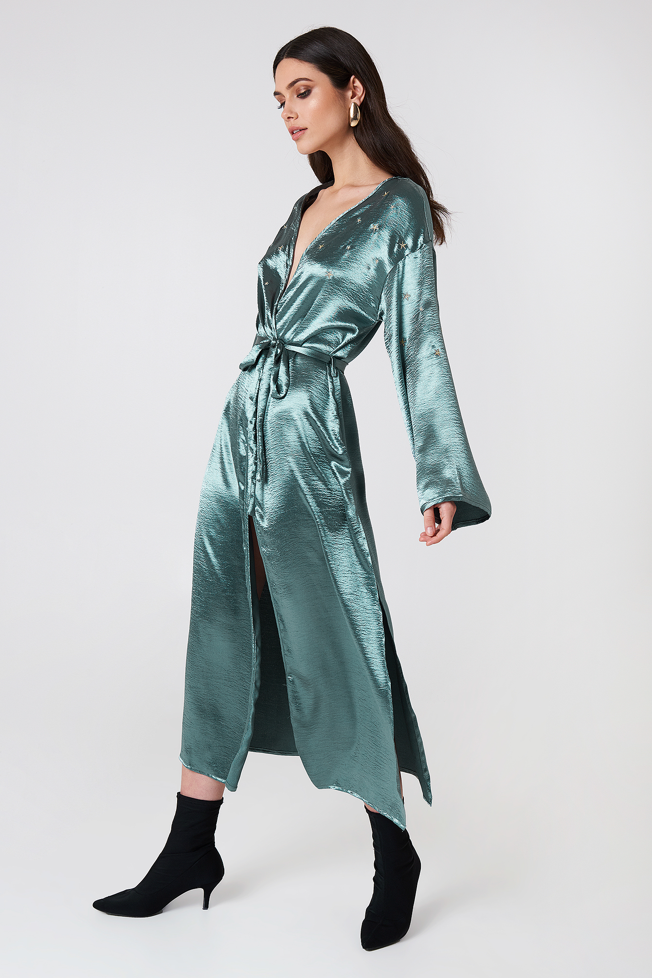Long Sleeve Robe Dress NA-KD.COM