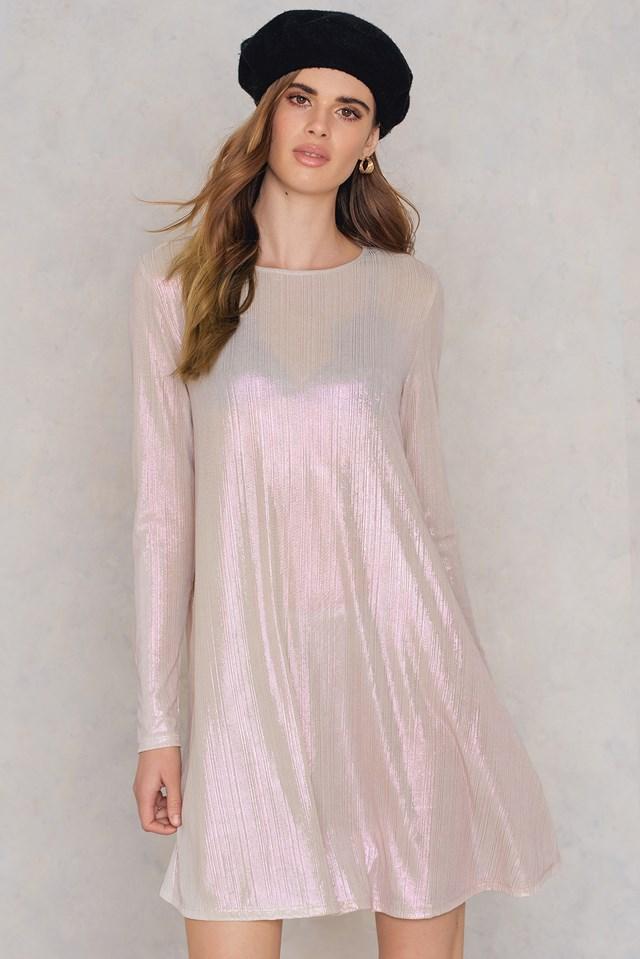 Long Sleeve Swing Dress Nude Metallic