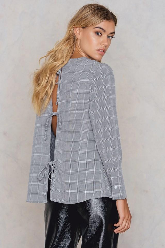 Long Sleeve Top Grey Check