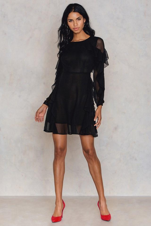 Long Sleeved Ruffle Dress Black