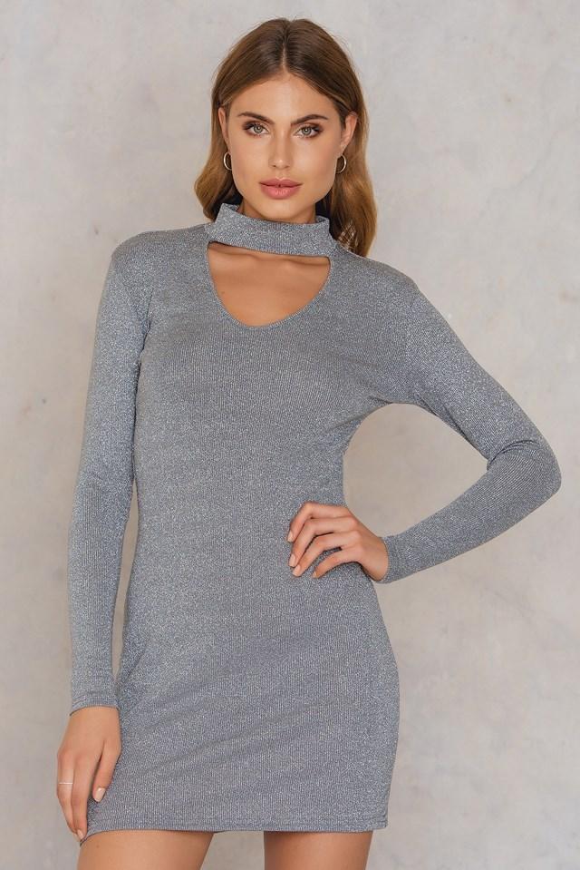 Lurex Choker Dress Silver