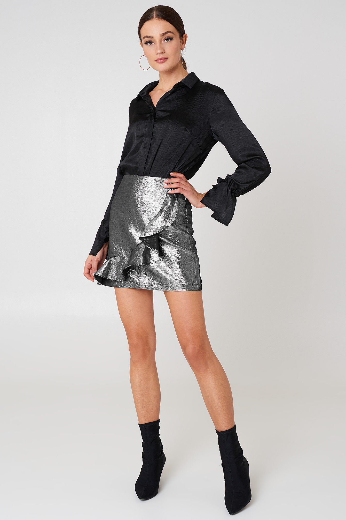 Silver Metallic Frill Skirt