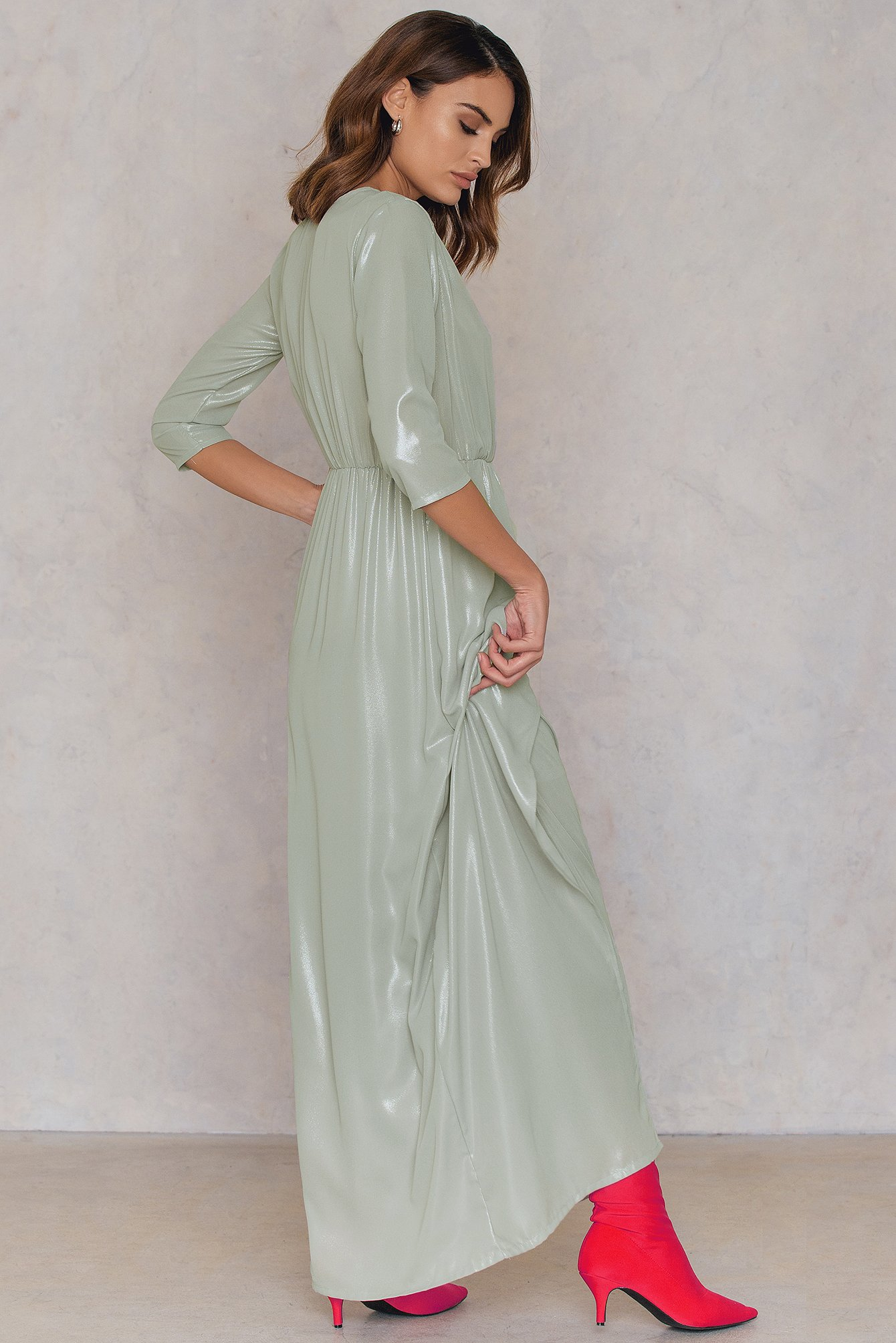 Warm Silver Metallic Front Slit Maxi Dress