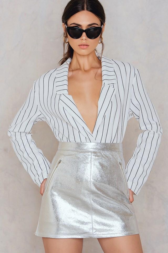 Metallic Mini Skirt Silver