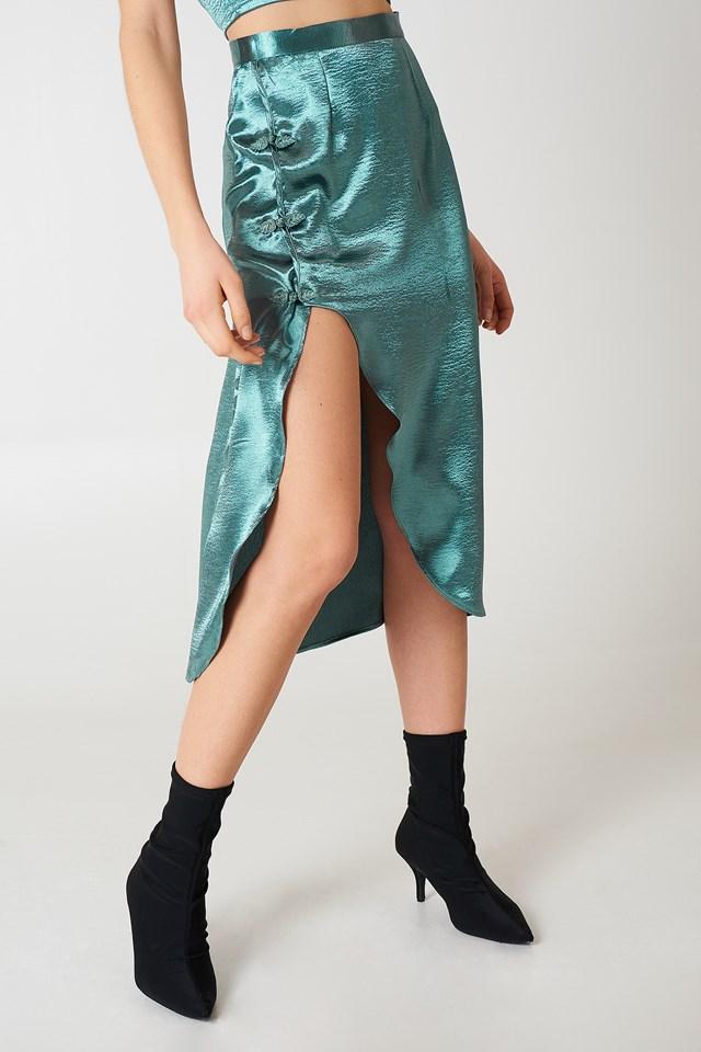 Midi Slit Skirt Teal