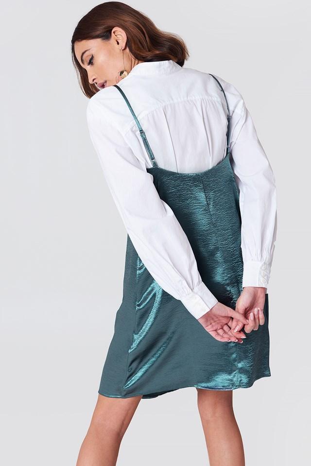 Mini Slip Dress Petrol Blue