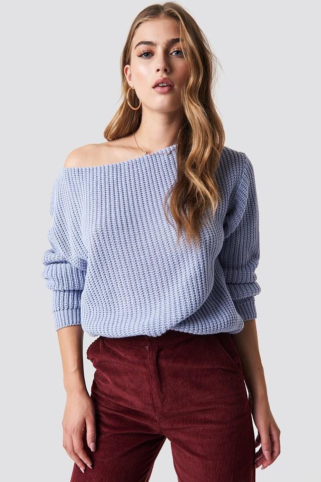 Off Shoulder Knitted Top Cornflower Blue