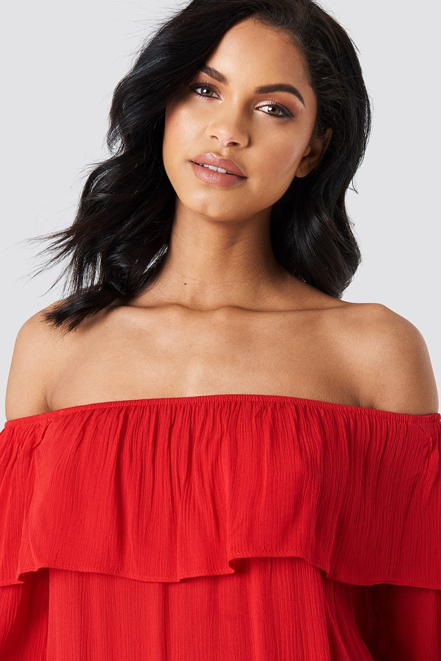 Off Shoulder Midi Dress Red